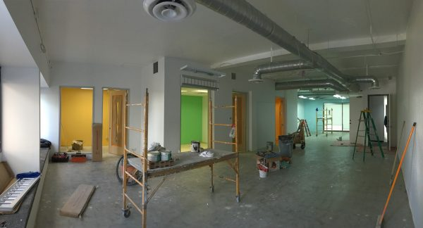 The space with paint finished and French doors installed in meeting rooms.